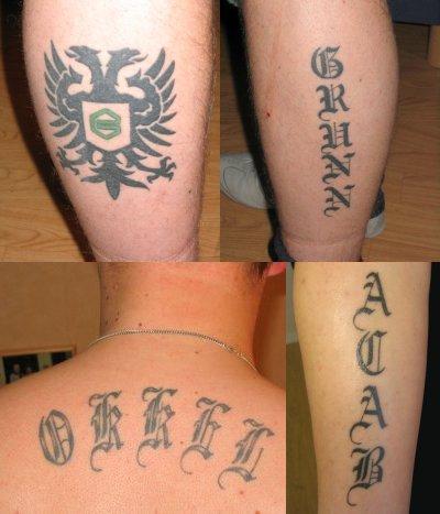 De tattoos van Okkel.